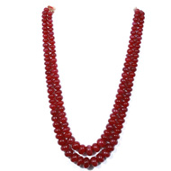 Ruby Fracture Filled Rondelle Beads