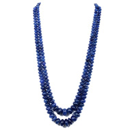 Blue Sapphire Fracture Filled Rondelle Beads