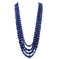 Blue Sapphire Fracture Filled Oval Tumble Beads