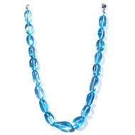Blue Topaz Oval Tumble Beads