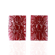 Mozambique Ruby Carving Pair